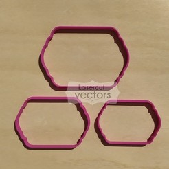 tagx3.jpg Download STL file Tags X 3 cookie cutter. Set of 3 cookie cutters label • Design to 3D print, LasercutVectors