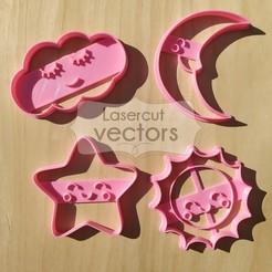 NUBE COL LUNA ESTRELLA.jpg Download STL file cookie cutter set sun, star, moon, cloud. cookie cutter kawaii moon, cloud, stan, sun • 3D printable object, LasercutVectors