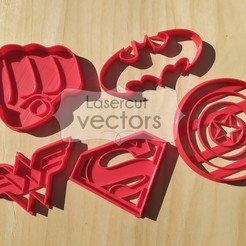 SUPER HEROES.jpg Download STL file Superhero cookie cutter set. Superman, Batman, Hulk, Captain America, Wonder Woman • 3D printer model, LasercutVectors