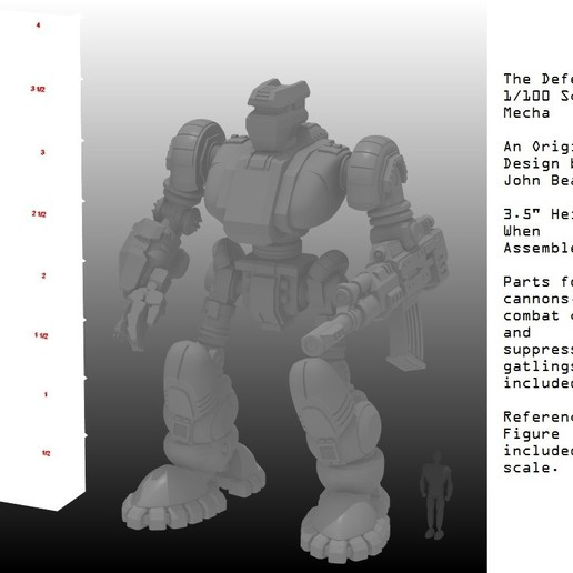 1-100th Assembled Defender with Ruler 2.jpg Télécharger fichier STL gratuit 1/100e de l'échelle Defender Mech • Design pour imprimante 3D, johnbearross