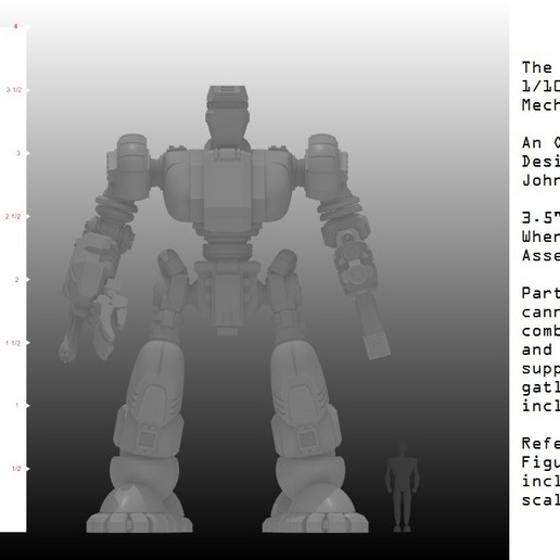 1-100th Assembled Defender with Ruler 1.jpg Télécharger fichier STL gratuit 1/100e de l'échelle Defender Mech • Design pour imprimante 3D, johnbearross