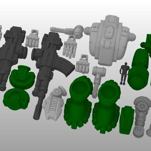 Defender Layout 3.jpg Télécharger fichier STL gratuit 1/100e de l'échelle Defender Mech • Design pour imprimante 3D, johnbearross