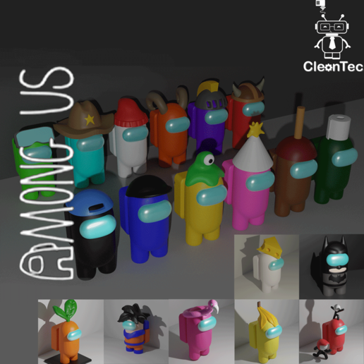 Download STL file Pack 20 figures AMONG US / Pack 20 figures AMONG US • Object to 3D print, Cleontec_EC