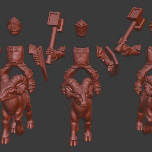 Dwarf_knights_v4.png Download free STL file Dwarf Knight Goat Cavalry Miniatures • 3D print object, Ilhadiel