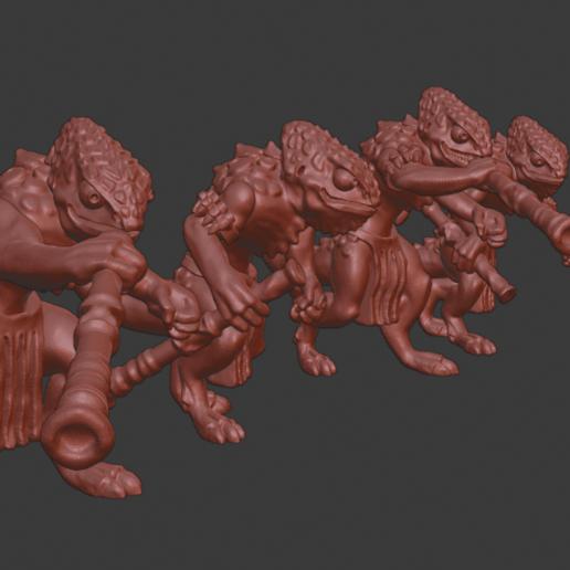 Chameleon_warriors_v2.png Télécharger fichier STL gratuit Miniatures de guerriers caméléons • Design à imprimer en 3D, Ilhadiel