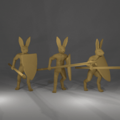 Download free 3D printing files Rabbit Miniatures with spear and shield, Ilhadiel