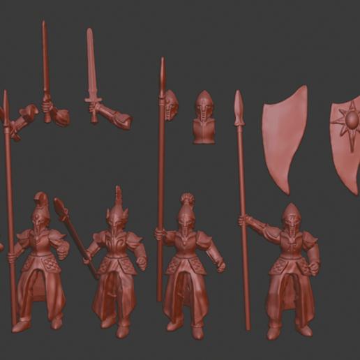 Spearmen_v1.png Télécharger fichier STL gratuit Infatrie des elfes / Miniatures des lanciers • Plan imprimable en 3D, Ilhadiel