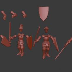 Knight_Infantry_v2.png Télécharger fichier STL gratuit Chevalier Infatry Miniatures (nouvelles versions) • Plan pour impression 3D, Ilhadiel