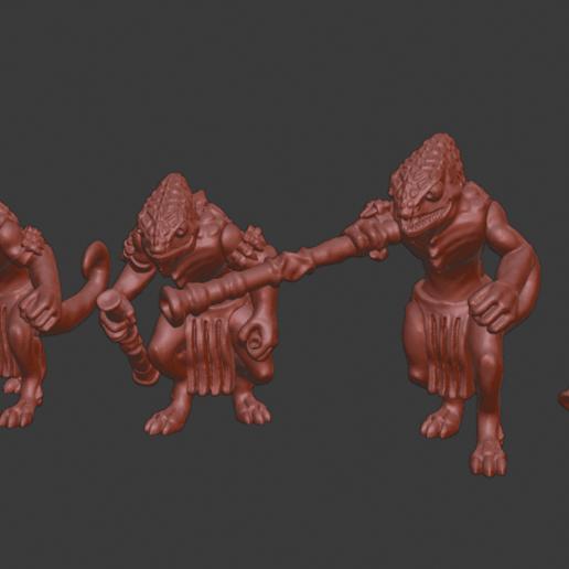 Chameleon_warriors_v1.png Télécharger fichier STL gratuit Miniatures de guerriers caméléons • Design à imprimer en 3D, Ilhadiel