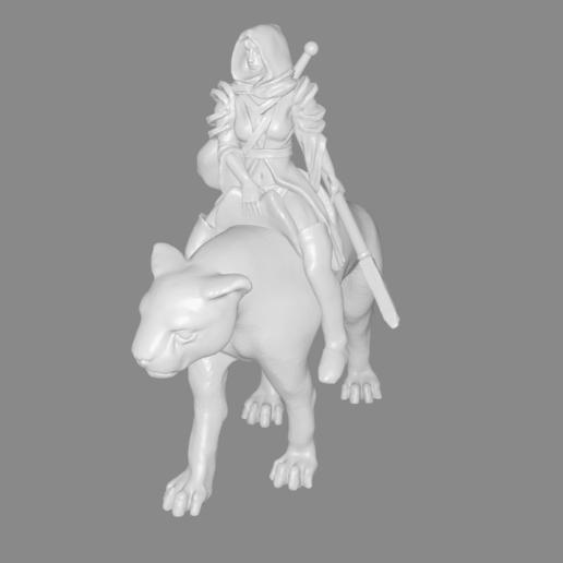 panther_rider_girl.png Télécharger fichier STL gratuit Panther Rider Girl Miniature • Design pour impression 3D, Ilhadiel