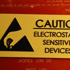 Download free STL files Elecrostatic sensitive equipment warning sign, prospect3dlab