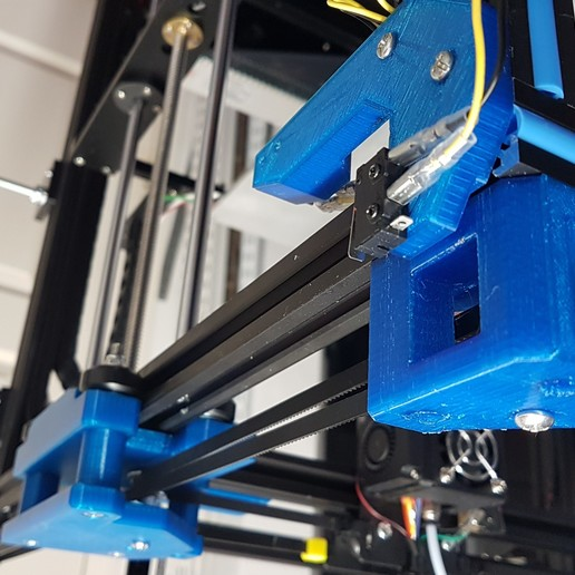 gantry_corner_pulley_and_endstop_brkt.jpg Download free STL file Tronxy X5S Gantry carriages and belt geometry alignment • 3D printing design, gnattycole
