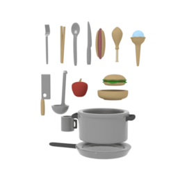cooking.png Download STL file Objects pack for nendoroid chibi figurines (cooking) • 3D print model, RepliKraft