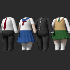 render.png Download STL file Nendoroid School Uniforms Pack • 3D printer object, RepliKraft