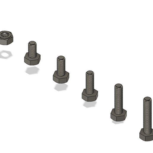 M4 Bolts and nut v1.png Download free STL file M8 M6 M5 M4 Bolts and nuts • 3D printer object, DadsDiy