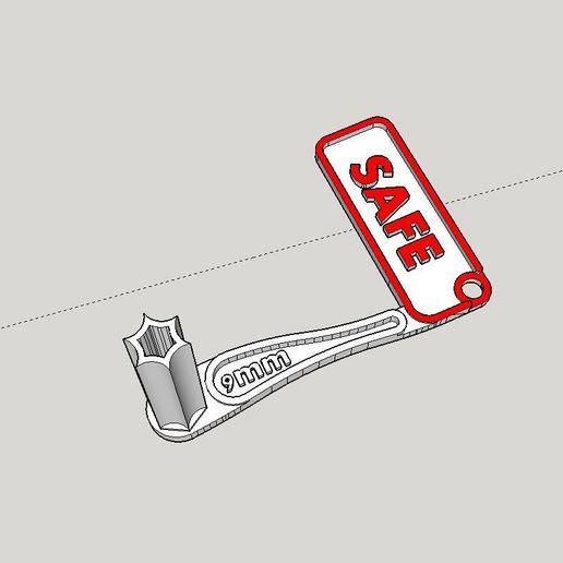Download free 3D printing templates 9mm Pistol Safety Chamber Flag, Milan_Gajic