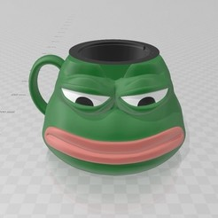 Taza manija derecha.jpg Download STL file Pepe Sad Cup Glass Mug • 3D printer model, luchoalbizu