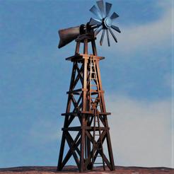 eolienne western.png Download OBJ file Western Windmill Weather vane • 3D printable object, castor0697