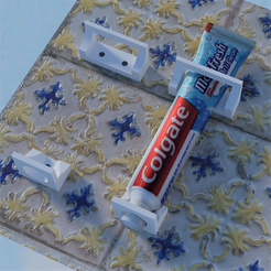 Support dentifrice.png Télécharger fichier STL Support mural vertical pour tube dentifrice • Plan à imprimer en 3D, castor0697