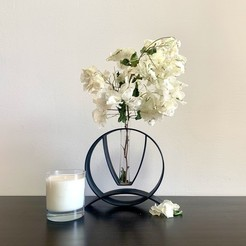 Tube vase with flowers.jpeg Download STL file Tube Vase - The Circle • 3D print object, Makers_Block