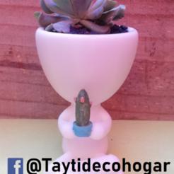 taytideco-robert-conCactus.png Télécharger fichier STL Robert Plant avec cactus, avec pot à la main • Modèle imprimable en 3D, tayti3dprint