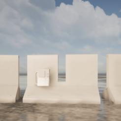 Vue1-0.png Download STL file Warhammer 40K terrain: Line of defence / Bunker / Protection • 3D printer model, LGArchitecture