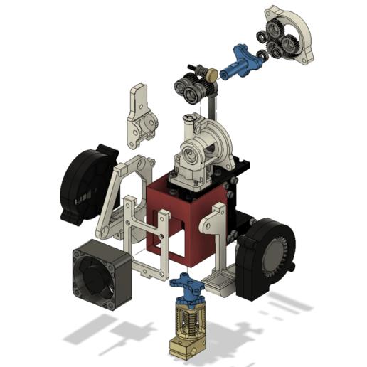 EXPLODED View.png Télécharger fichier STL gratuit Formbot Troodon Orbiter Direct Drive Extruder (DDE) Part 1/2 • Design pour impression 3D, ja11en