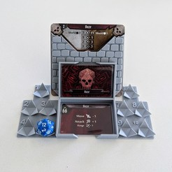 Download free 3D printing templates Gloomhaven Monster Stats and Damage Holder - d20, ismaan