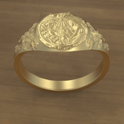 Signet Ring 1.png Download STL file Signet Ring Holy Family • 3D printer object, SkyNet33