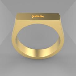 Panda.png Download STL file Panda Signet Ring • 3D printer design, SkyNet33