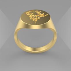 Lion Heart.png Download STL file Lion Heart Signet Ring • 3D printer object, SkyNet33