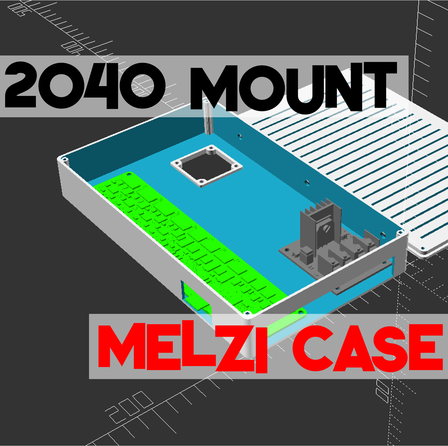 Preview_2040_Melzi_Case_Title.png Download free SCAD file Melzi 2040 Electronics Case • Template to 3D print, trg3dp