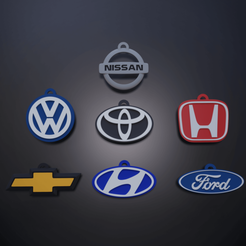 Llaveros edit.png Download STL file Keychains for Chevrolet, Ford, Nissan, Volkswagen, Honda, Toyota and Hyundai • 3D printable template, el_chozas
