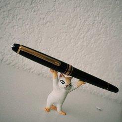 gato3.jpg Download OBJ file Pen Holder Cat • 3D printer model, RuVa_Printing