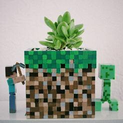 maincra1.jpg Download OBJ file Minecraft Cube Planter Pencil Stand • 3D printing design, RuVa_Printing