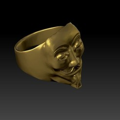 Download 3D printing designs Vendetta anonymous ring 3D print model, e4ngel