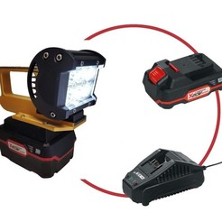 parkside-akku-schlagbohrschrauber-set-20-v-zoom--7 copie.jpg Download STL file Led flashlight with X20 Team Parkside battery and/or USB charger • 3D print object, josephs
