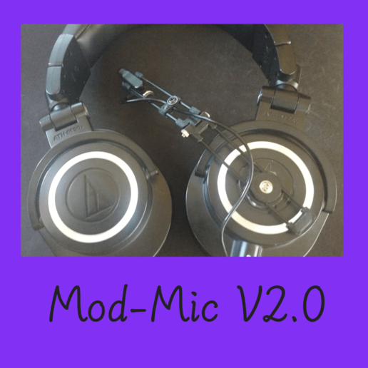 modmic.png Download free STL file pilot headset V 2.0 ,ModMicrophone, gaming, microphone, headset, Sony ECM-CS3 • 3D printing object, FenixYeshua