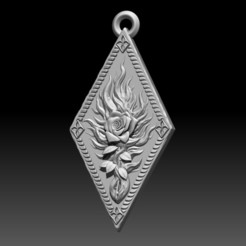 1.jpg Download STL file Witcher Order of the Flaming Rose amulet • Object to 3D print, ssharkus