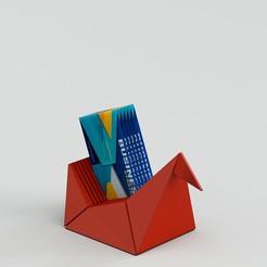 card.effectsResult.jpg Download STL file desk business card holder origami style • 3D printing template, mmezz1