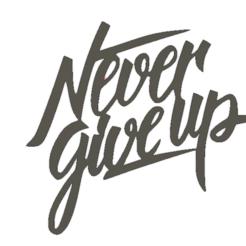 nerver give up.png Télécharger fichier STL cadre mural  NEVER GIVE UP • Modèle pour impression 3D, AIRELLES