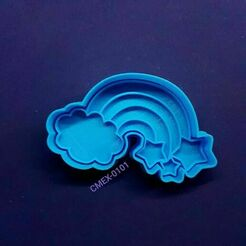 125036416_3405754322836808_4648664328593192001_n.jpg Download STL file Cloud Cookie Cutter with Rainbows and Stars • 3D printer model, Cortantesparagalletitas