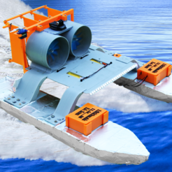 Télécharger objet 3D gratuit Bateau à moteur RC - Deux moteurs de soufflerie, LetsPrintYT