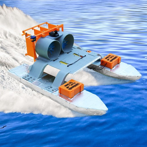 Download free 3D printer files RC AIRBOAT - TWO FAN ENGINES, LetsPrintYT