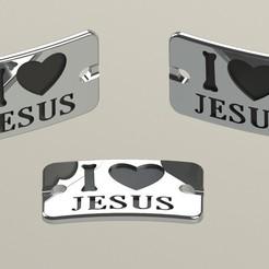 PLACA_I LOVE JESUS NIQUEL.JPG Télécharger fichier STL Plaque J'AIME JESUS • Objet à imprimer en 3D, DIAGUILAR9084