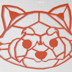 pandaroux.png Download STL file Panda red 2d • 3D printable template, johnnydip