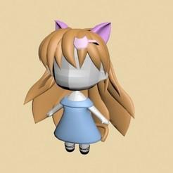 1111.jpg Download STL file Chibi Cat Girl • 3D printer model, xelu3banh