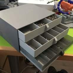 Télécharger plan imprimante 3D gatuit Conteneur et tiroirs de stockage de vis et de petites pièces, CartesianCreationsAU