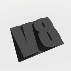 Emblem - V8.jpg Download STL file Scalemonkey Emblems V8 BIG BLOCK DIESEL SCALEMONKEY • 3D printable design, Scalemonkey