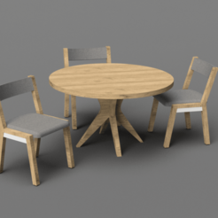 Download free 3D printing models Dollhouse Dining Table & Chairs 1/24th scale, ericcherry